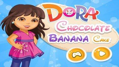 Даша готовит шоколадный торт с бананами