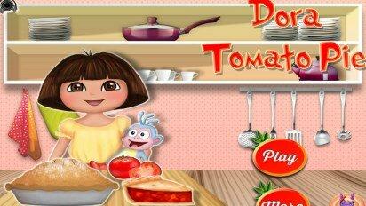 Даша готовит пиццу с помидорами