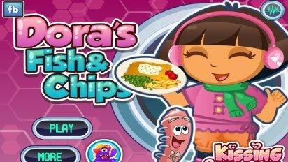 Дора готовит рыбу с картошкой